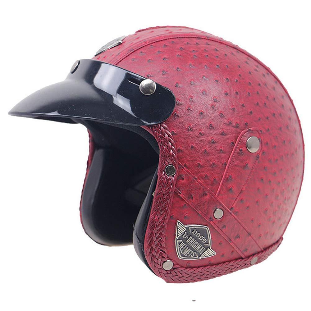 Casco de Motocicleta de Media Cara de Cuero Cascos de Motos de Harley Retro Cascos Protectores de Motocross para Montar Moto Gorras