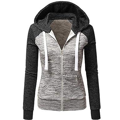 a6c9c31ddd65 Newbestyle Women s Casual Color Block Jersey Full Zip Fleece Hoodie ...