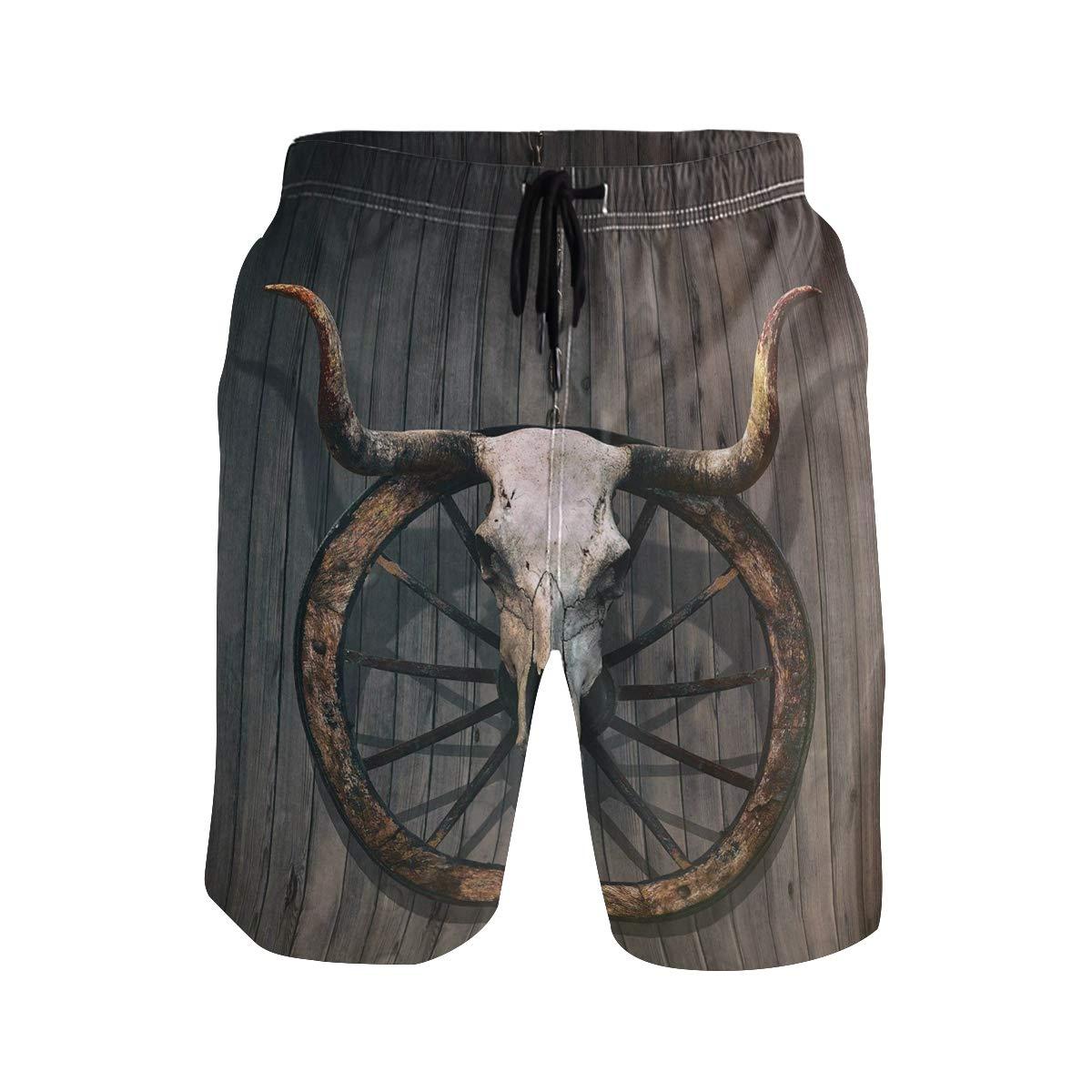 COVASA Mens Summer ShortsLong Horned Bull Skull and Old West Wagon Wheel Rusti