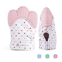 Jouet de dentition de bébé de gant de dentition de bébé - (3-12 mois) - NON BRILLANT - plus de baisse (maman inventée) - protège des mains de Babys et 100% de silicone de catégorie comestible.