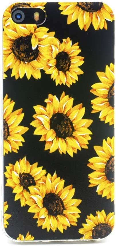 FAteam iPhone SE (2016) Soft Case, Sunflower Flower Pattern Scratchproof Shockproof Soft TPU Slim Cute Cover Compatible with iPhone 5 5s SE (Sunflower - Black)