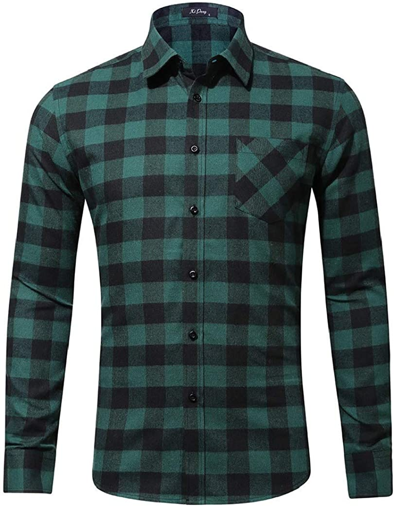 Abetteric Mens Printing Plaid Cotton with Pocket Long Sleeve Casual Shirt