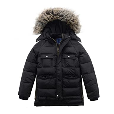 3fdf25738e3 Amazon.com  M2C Boys Winter Faux Fur Hooded Warm Insulated Jacket ...
