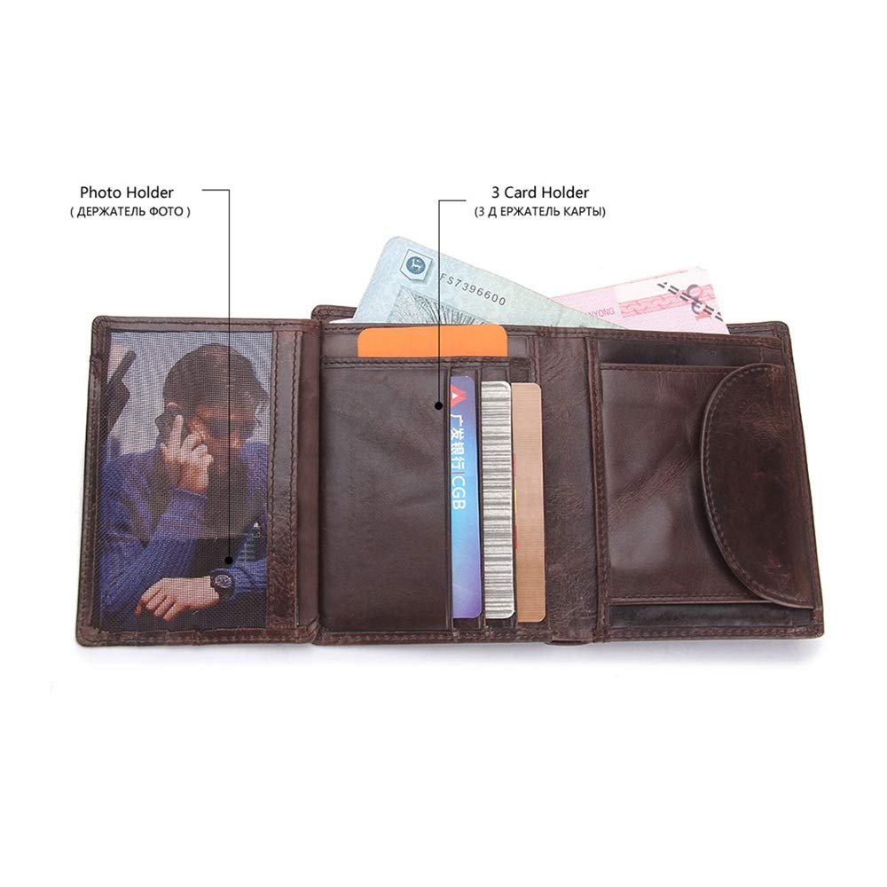 Mens Wallet Credit Card Holder Mens Leather Wallets Credit Card Holder Wallets For Men With Coin Pocket In Large Capacity Money Purse Gift for Gents Color : Dark coffee , Size : Free size
