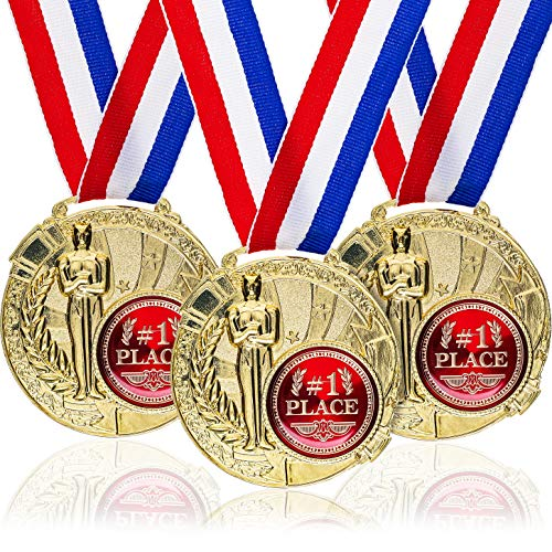 Juvale 6-Pack Bulk Olympic Style 1st Place Gold Award Winner Medals with Ribbons for Kids, Adults, and Sports, 1.5 Inches Diameter, 15.3 Inches Ribbon Length