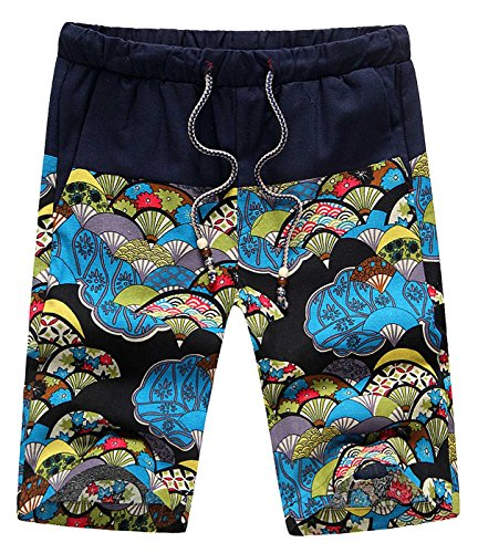 - Men Linen Shorts Colored Print Splice Trunks with Adjustable Drawstring Hand Pocket Boardshorts 34 Blue Fan