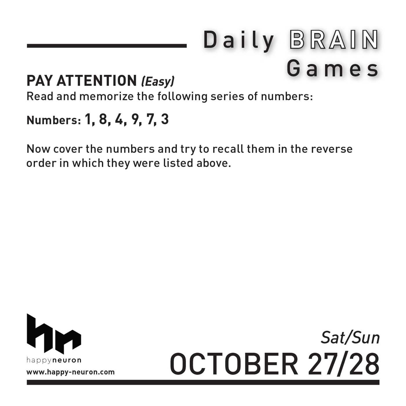 Daily Brain Games 2018 Day-to-Day Calendar: HAPPYneuron