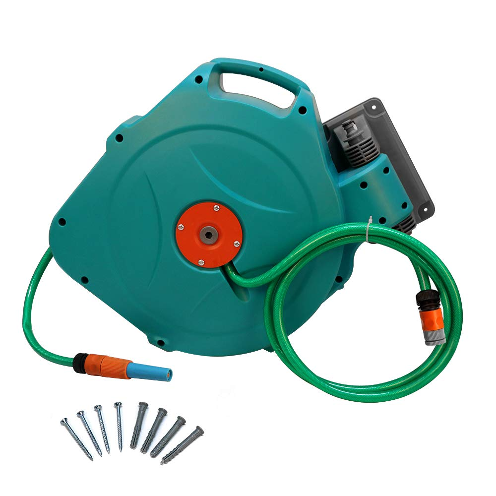 Beaugreen Retractable Water Hose Reel Automatic 65 Feet Wall Mounted Swiveling Hose Reel Air Hose Reel by Beaugreen