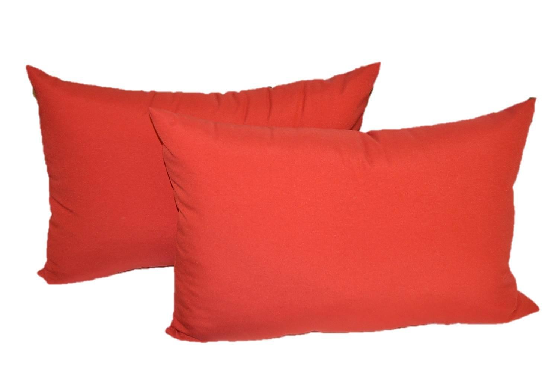 Set of 2 Indoor / Outdoor Decorative Lumbar / Rectangle Pillows - Solid Red