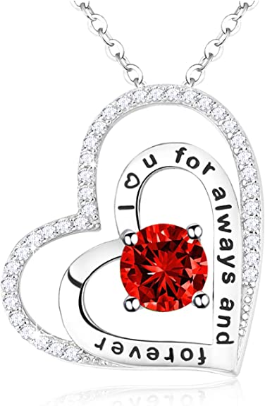 July Birthstone Red Ruby Necklace Jewelry for Women Love Hearts Sterling Silver Pendants Birthday Gifts for Her 20 Chain