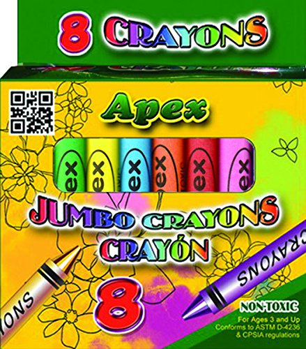8 Jumbo Crayons - Assorted Colors 72 pcs sku# 1819594MA by E.clips USA