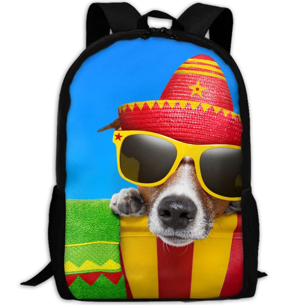 CY-STORE Glasses Hat Snout Funny Animals Print Custom Casual School Bag Backpack Travel Daypack Gifts by CY-STORE