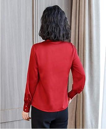 SJHJA Blusas Y Camisas para Mujer Blusa De Seda Camisa De Raso Elástico Blusa De Seda con Cuello En V Femenina@Rojo_2XL: Amazon.es: Ropa y accesorios