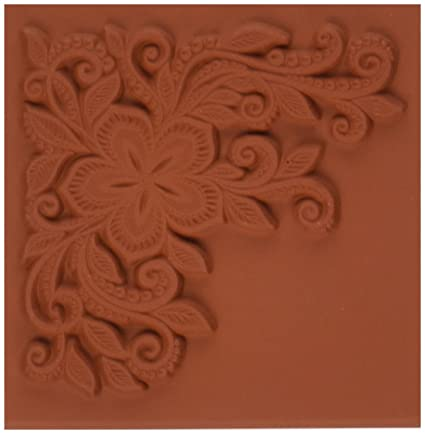 amazon com deep red stamps lace flower corner rubber stamp arts