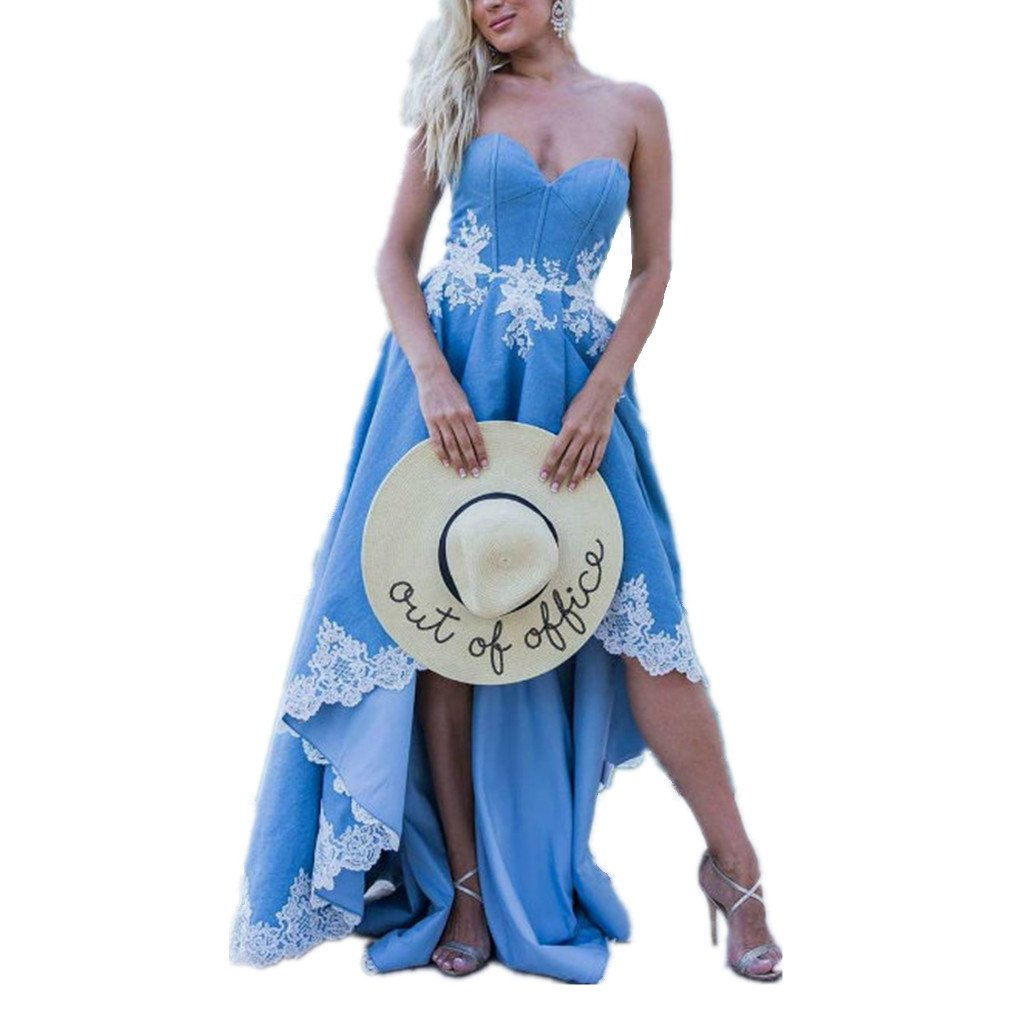 9c396b07946 LeoGirl Womens Western Cowgirl Lace Embroidered Denim High Low Prom Dresses  Unique Sweetheart Evening Party Gown at Amazon Women s Clothing store