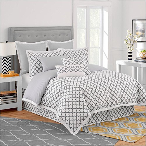 Jill Rosenwald Copley Collection Quatrefoil Reversible Duvet Cover Twin Grey and White