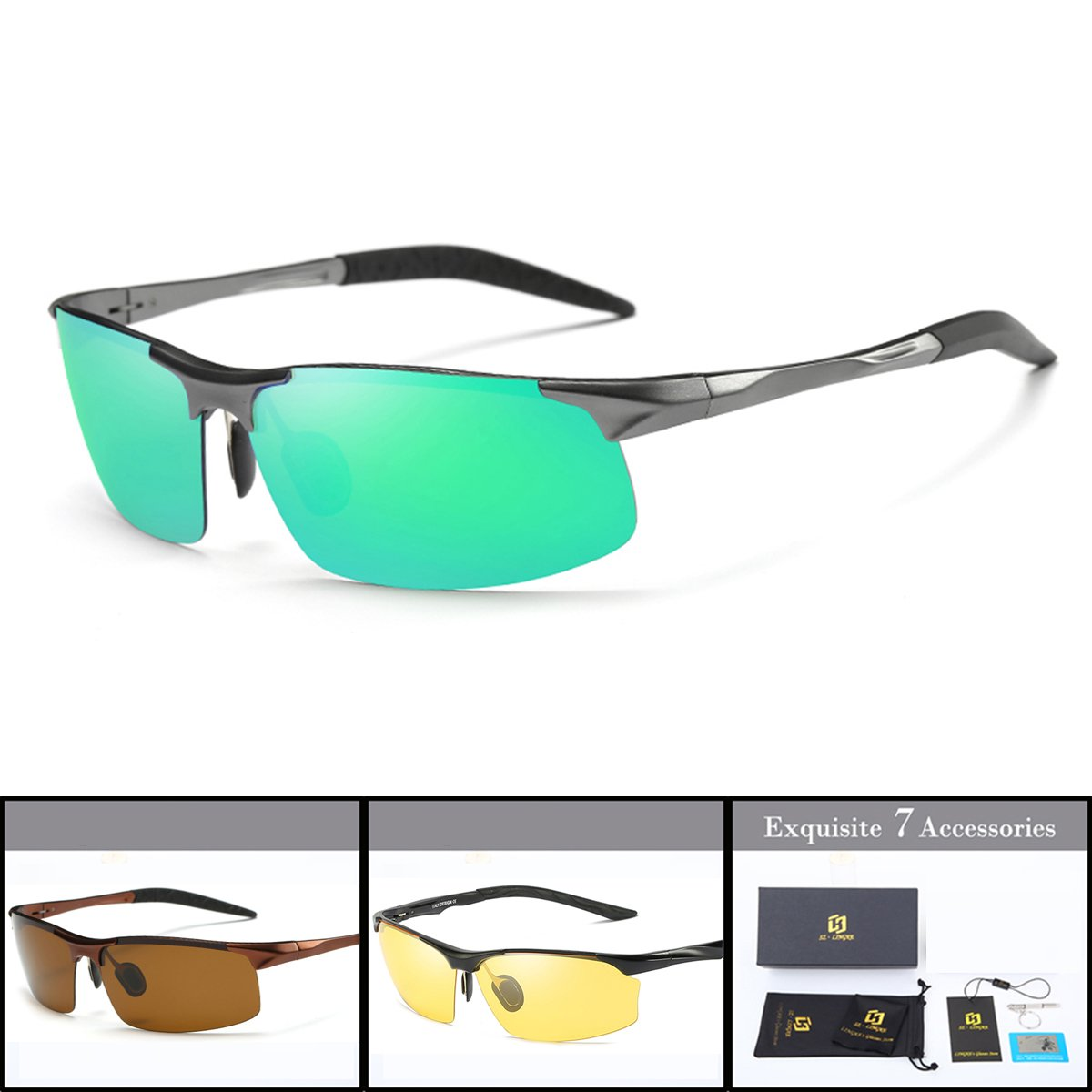SZLINGKE Brand Polarized Sport Sunglasses Women Men Riding Cycling Sunglasses Aluminum Magnesium Frameless Semi-Rimless Sunglasses Fishing Driving Night Vision EyeGlasses (Gun & Green)
