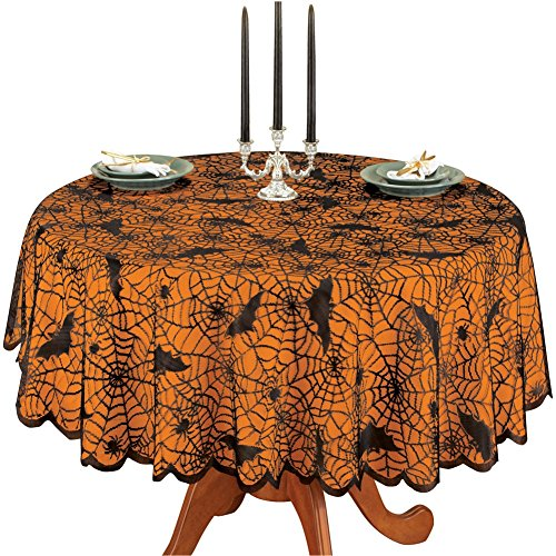 Halloween Spiders and Bats Lace Table Linens