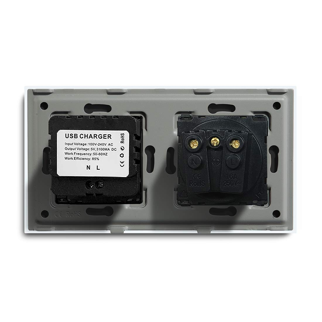 BSEED Glass Panel 16A PC Extended CAT 5E y tomas USB 100-220 V AC tomas de carga Negro