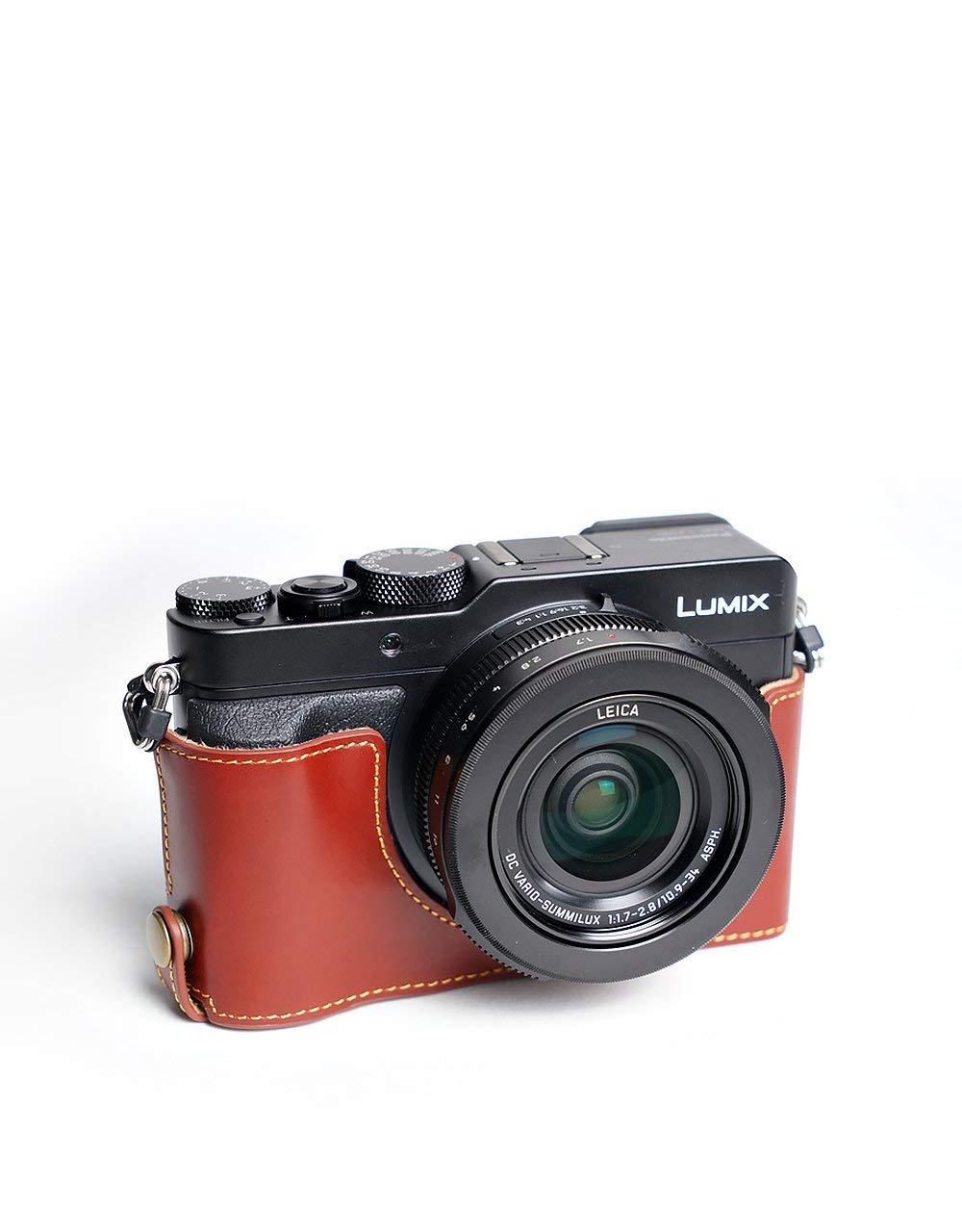 パナソニック LX100 用本革カメラケース(電池,SDカード交換可) ブラウン B07STB6TNG カメラケース&ストラップTP1881 FreeSize