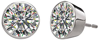 20206f32059651 Image Unavailable. Image not available for. Color: 2 Carat White Sapphire  Musca Stud Earrings Platinum