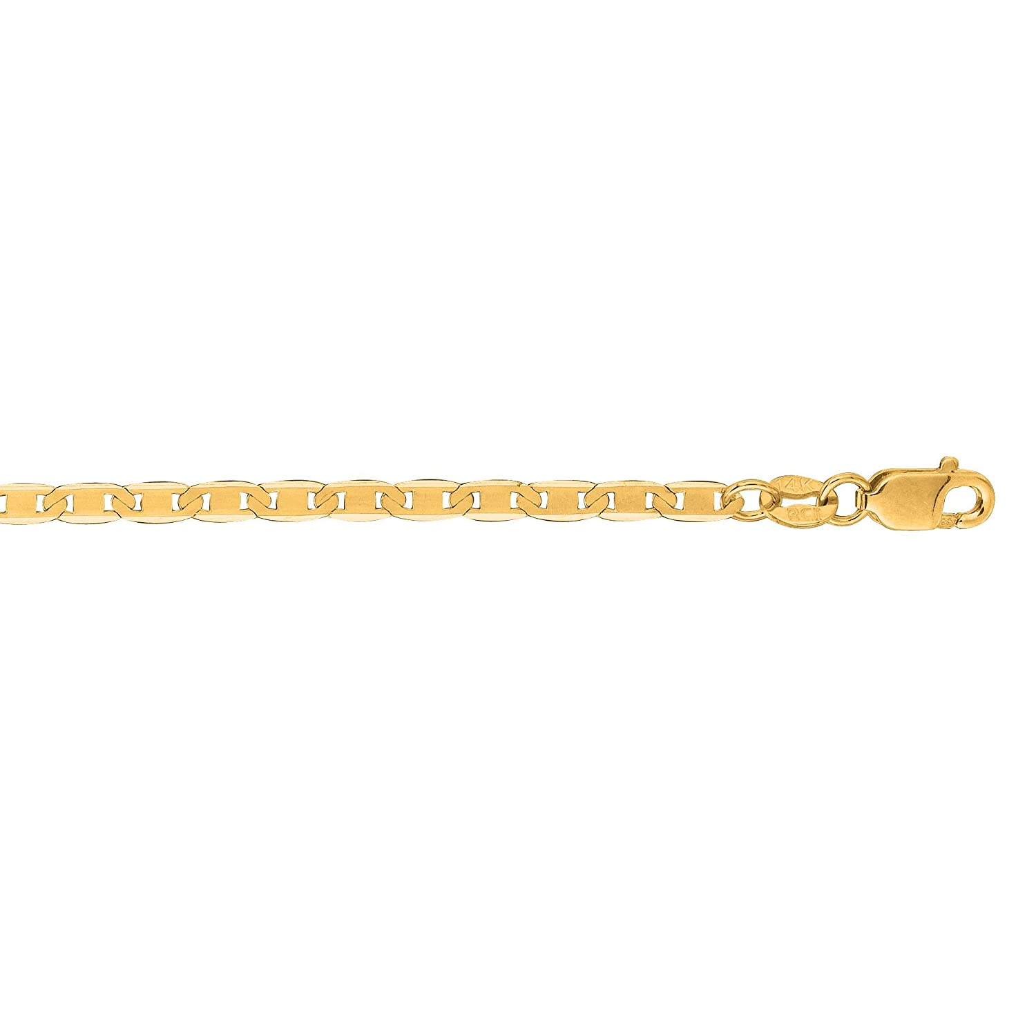 10k Yellow Gold 10 Inch 2.3mm Mariner Anklet Bracelet Lobster-clasp