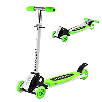 Creine 3 Wheels Kids Kick Scooter, Foldable Adjustable Height Mini Push Toddler Exercise Toys Scooter with T-bar Adjustable Handle for Boys Girls ...