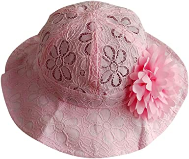 Girls Bucket Hat Wide Brim Terry Towelling Sun Protection Size 2,3,4,5,6,7 Pink