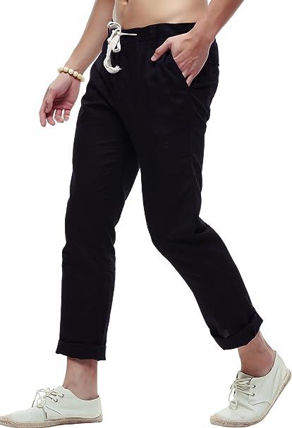 LifeHe Men Beach Trousers Linen Drawstring Straight Fit Beach Capri Pants