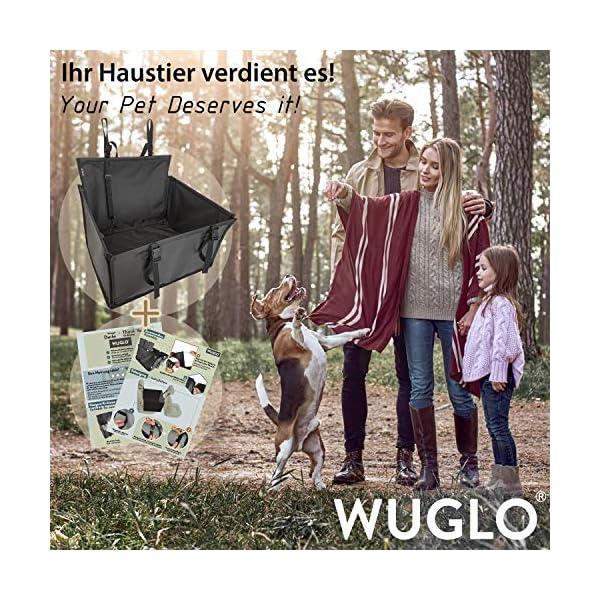 WUGLO Extra Stabiler Hunde Autositz - Verstärkter Autositz für kleine und mittlere Hunde mit 4 Befestigungsgurten…