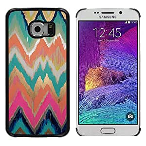LECELL--Funda protectora / Cubierta / Piel For Samsung Galaxy S6 EDGE SM-G925 -- Teal Pink Chevron Watercolor Painting --