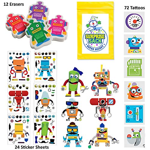 108 Pc Robot Birthday Party Favors for Kids Pack (Great for Goodie Bags For Kids Birthday, Return Gifts For Kids Birthday, Boys Party Favors, Robot Party Supplies, Robot Prizes & -
