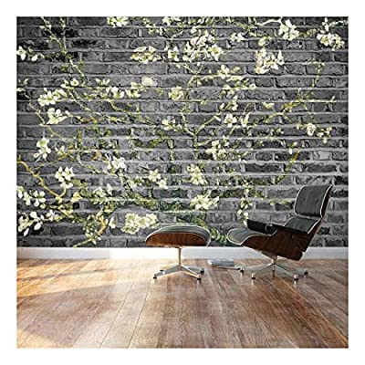 Delightful Composition, Created Just For You, Almond Blossom by Vincent Van Gogh Floral Painting on a Grayscale Textured Background Wall Mural
