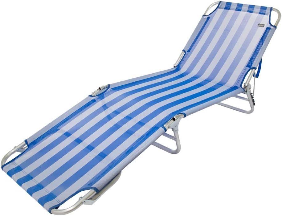 Aktive 53957 Tumbona plegable multiposición aluminio Beach, 188 x 58 x 24 cm Azul: Amazon.es: Jardín