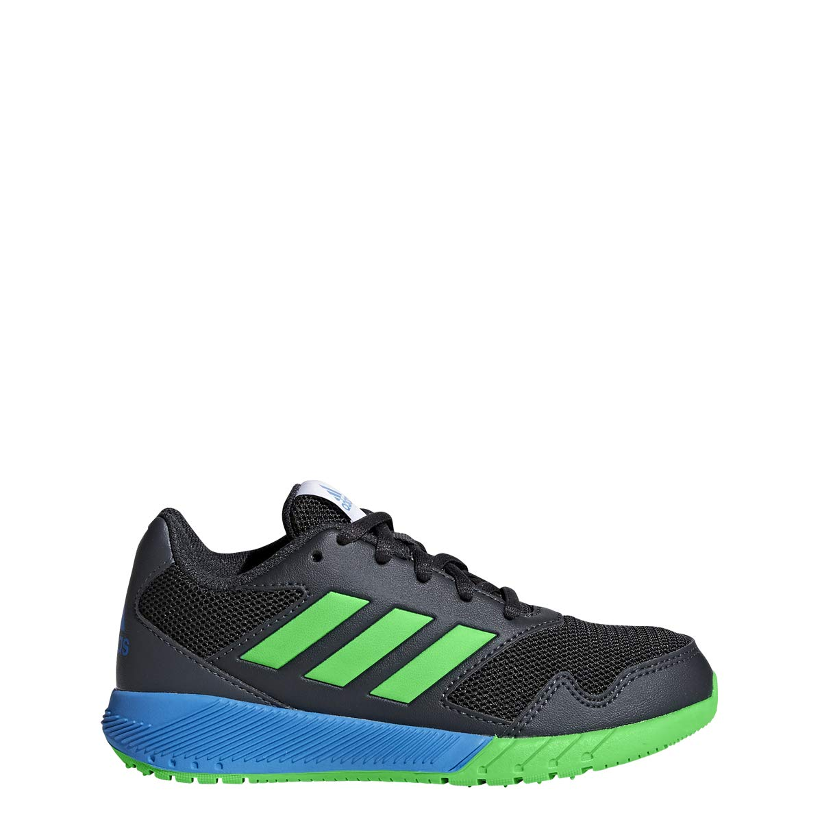adidas Originals Unisex-Kids Altarun Running Shoe, Carbon/Vivid Green/Bright Blue, 4 M US Big Kid