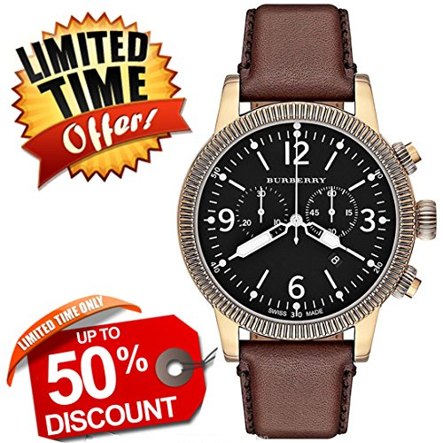Burberry Utilitarian SWISS LUXURY Round Stainless Steel Chronograph Brown Leather Band 46mm Black Tone Date Dial Unisex Men Women Watch BU7819
