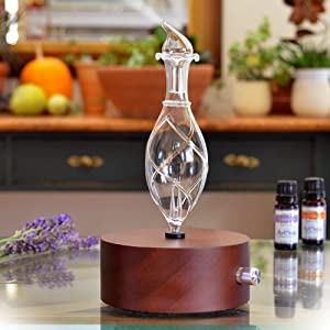Aromatherapy Diffuser - Professional Grade - Wood and Glass (Solum Nox Vitis), Premium, Essential Oil Diffuser, Nebulizer, Professional Machine, Waterless