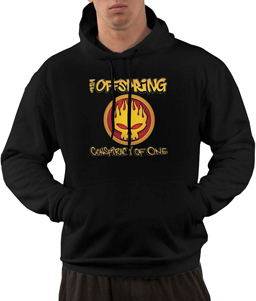 Buganda Mens Unique Print with The Offspring Conspiracy of One Warm Hooded Fleece Sweatshirt with Pocket