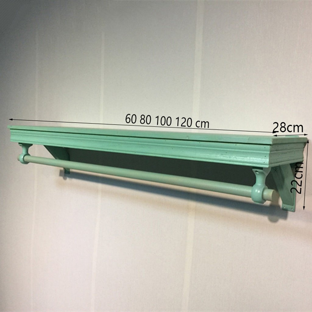 Green 60CM RFJJAL Wall-Mounted Coat Rack, Retro Hook Wall Shelf Solid Wood Corridor Clothes Rack (color   Green, Size   60CM)