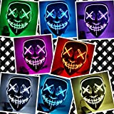 #1: Anroll Halloween Mask LED Light up Purge Mask for Festival Cosplay Halloween Costume