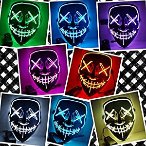 Anroll Halloween Mask LED Light up Purge Mask for Festival Cosplay Halloween Costume