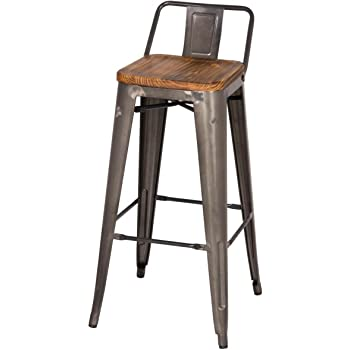 Amazon Com Mc Low Back Bar Stool Wood Seat 30 Quot Gunmetal