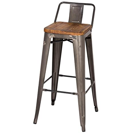 MC Low Back Counter Stool Wood Seat 26u0026quot; Gunmetal ...  sc 1 st  Amazon.com : counter stools with low backs - islam-shia.org