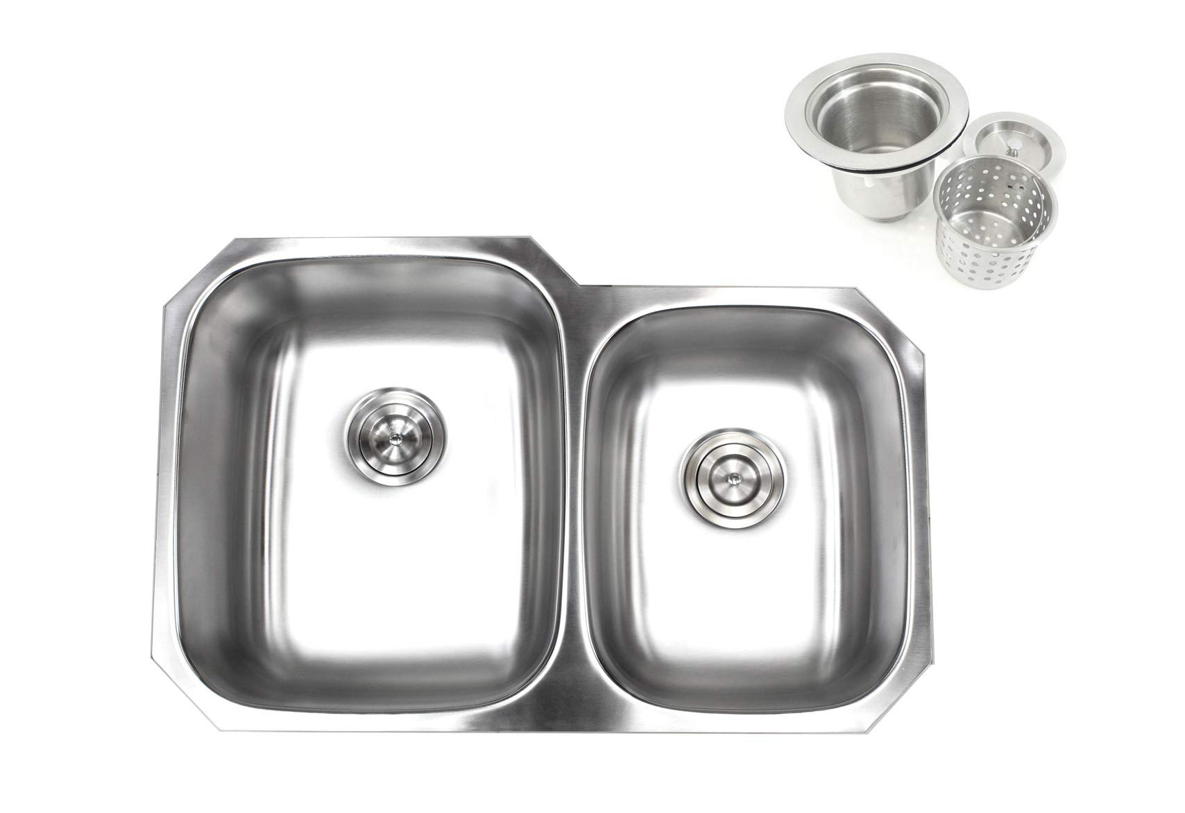 Kingsman 32 inch 18 Gauge Stainless Steel Undermount Double Bowl (60/40) Kitchen Sink (Sink with Strainer)