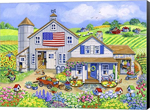 Patriotic Farm by Geraldine Aikman Canvas Art Wall Picture