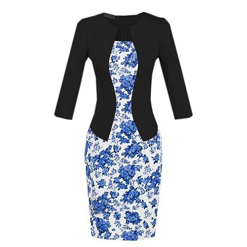 Buy-Box Women Elegant Fake Two Piece Wear To Work Business Bodycon Pencil Dress