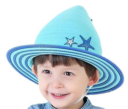 Leisial Verano Sombrero de Paja Sombrero Gorra de Sol Playa Anti UV Solar  para Viaje Playa para Bebé Niños Azul  Amazon.es  Ropa y accesorios 3323bd15a41