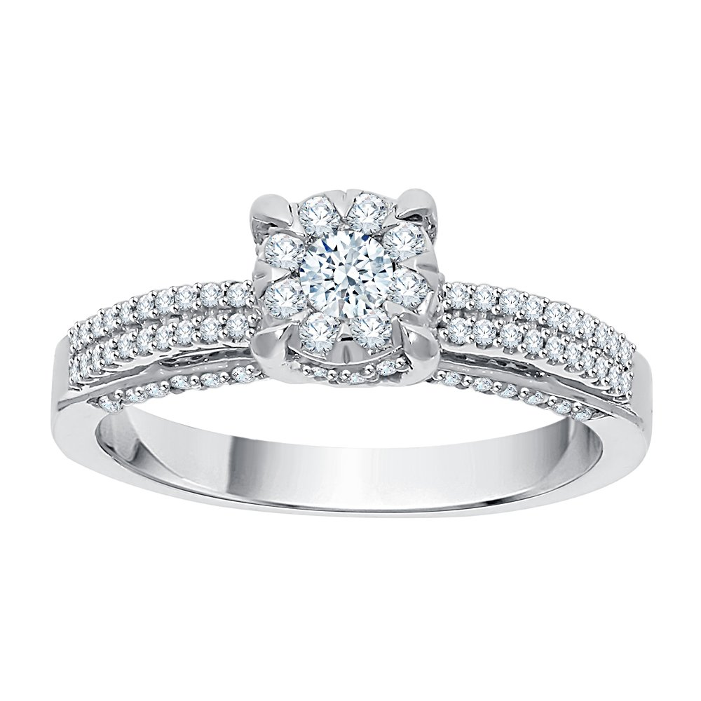Diamond Engagement Ring in Sterling Silver (5/8 cttw) (I-Color, SI3-I1 Clarity) (Size-5)