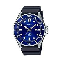 Men's Diver Inspired Stainless Steel Quartz Resin Strap, Black, 25.6 Casual Watch (Model: MDV-106B-2AVCF)