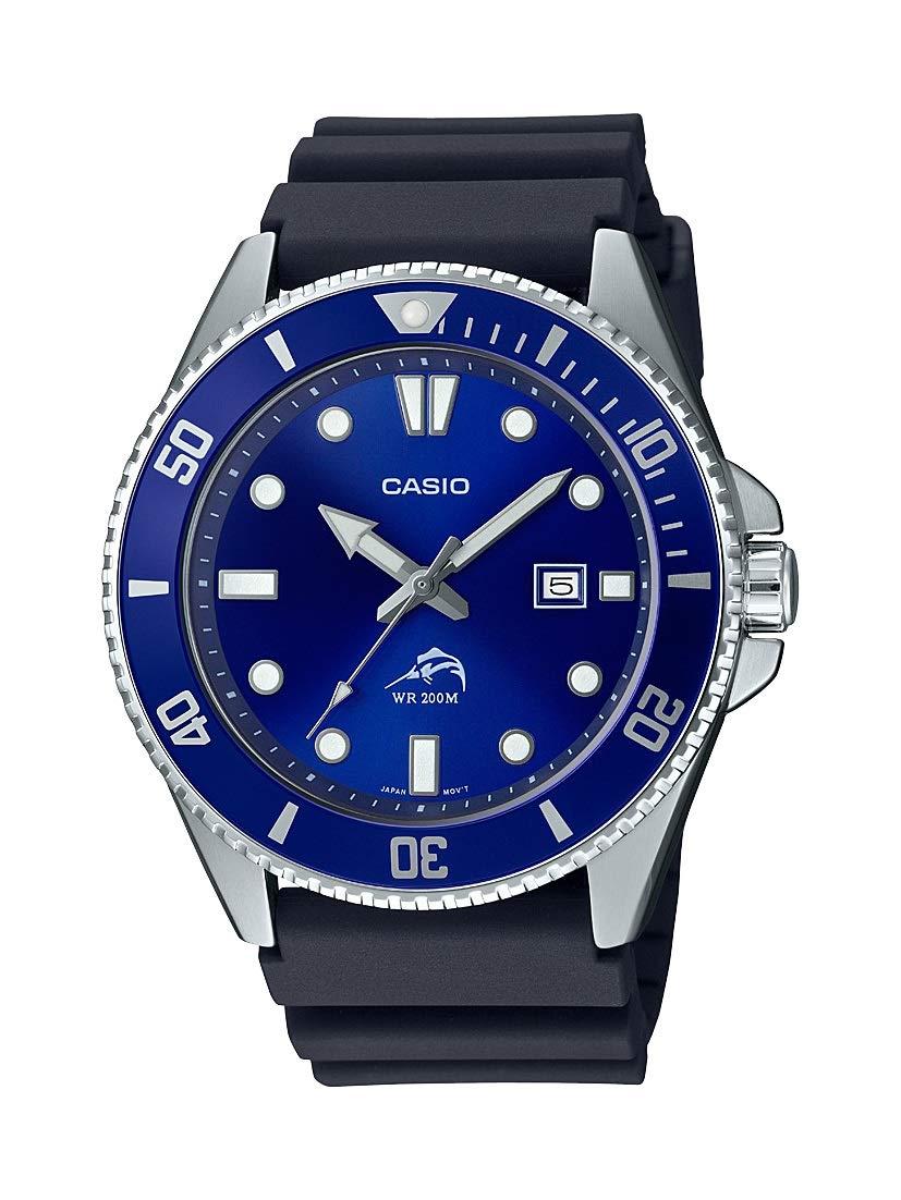 Diver Inspired Stainless Steel Quartz Watch with Resin Strap, Black, 25.6 (Model: MDV106B-2AV)
